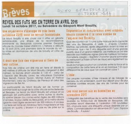 Article ECHO Beaujolais Octobre 2017