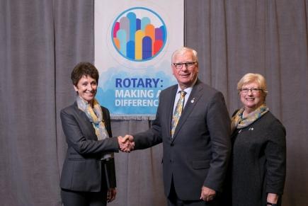 Nicole Darmency avec le président Ian Riseley lors du séminaire des gouverneurs à San Diego